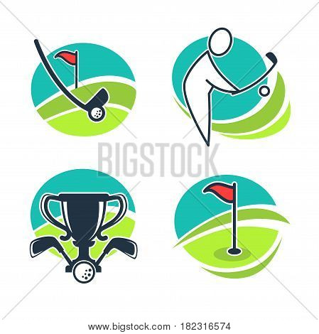 Golf labels collection with equipments and prizes. Vector poster of white special balls, player silhouette on course winning cups in circles on white. Collection of golf game badge logos with motions
