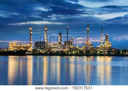 Twilight scene of oil refinery plant., Oil and Gas.