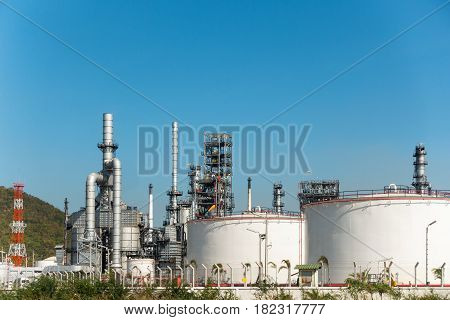 Petrochemical plant on daylight ., Oil refinery.