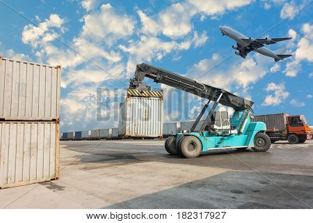 Container unloading truck and yard logistics., Business transportation.