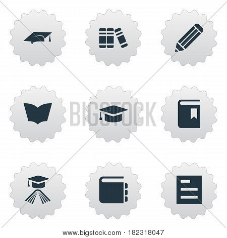 Vector Illustration Set Of Simple Knowledge Icons. Elements Book Cover, Reading, Tasklist And Other Synonyms Notepad, Note And Page.