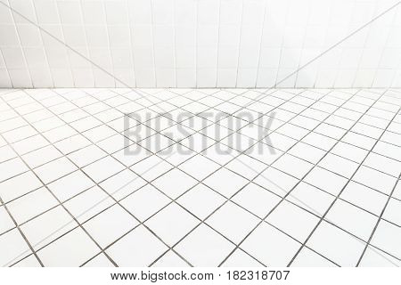 Ceramic tile wall and flooring paving with oblique view.