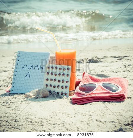 Vintage Photo, Medical Pills, Carrot Juice And Accessories For Sunbathing, Vitamin A And Beautiful,