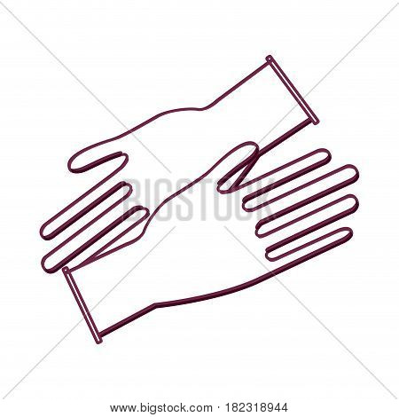 silhouette medical latex gloves to protection hands, vector illustration