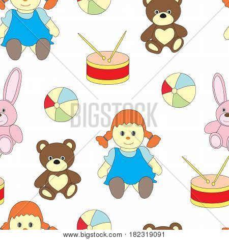 Seamless pattern with toys for girls. A vector picture with a ball, kukuly, a bear, a drum, a hare on a white background.