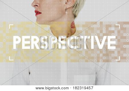 Caucasian woman with perspective word for inspiration
