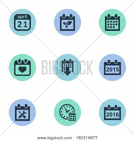 Vector Illustration Set Of Simple Plan Icons. Elements Remembrance, Date Block, Deadline And Other Synonyms Annual, Calendar And Reminder.