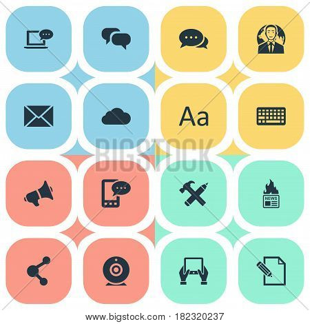 Vector Illustration Set Of Simple User Icons. Elements Keypad, Notepad, Laptop And Other Synonyms Writing, Message And Hot.