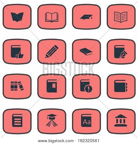 Vector Illustration Set Of Simple Knowledge Icons. Elements Academic Cap, Blank Notebook, Sketchbook And Other Synonyms Dictionary, School And Page.