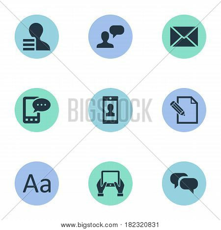 Vector Illustration Set Of Simple Blogging Icons. Elements Post, Cedilla, Gain And Other Synonyms Gain, Profit And Hand.