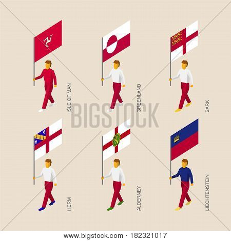 Set of isometric 3d people with flags of countries and islands. Standard bearers infographic - Greenland, Liechtenstein, Isle of Man, Herm, Sark, Alderney.