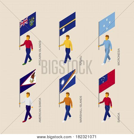 Set of isometric 3d people with flags of countries in Oceania. Standard bearers infographic - Pitcairn Islands, Nauru, Micronesia, Samoa, American Samoa, Marshall Islands.