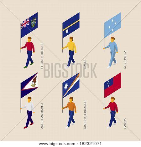 Set of isometric 3d people with flags of countries in Oceania. Standard bearers infographic - Pitcairn Islands, Nauru, Micronesia, Samoa, American Samoa, Marshall Islands.