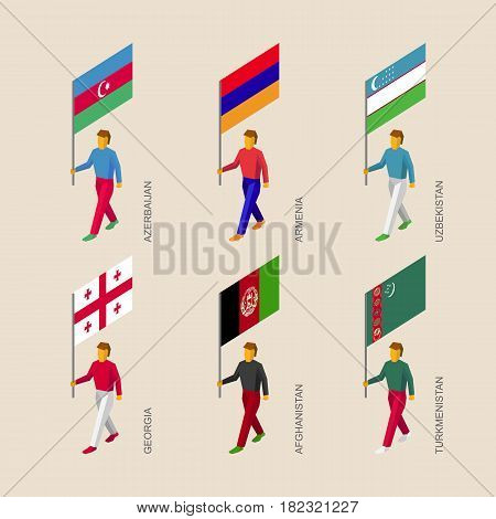 Set of isometric 3d people with flags. Standard bearers infographic - Armenia, Georgia, Uzbekistan, Azerbaijan, Afghanistan, Turkmenistan