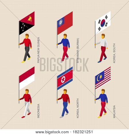 Set of isometric 3d people with flags. Standard bearers infographic - Papua New Guinea, Myanmar, South Korea, North Korea, Indonesia, Malaysia.
