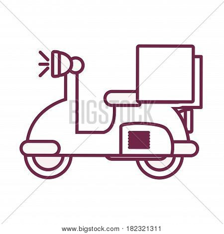 contour delivery motorcycle transportation service with box, vector illustration
