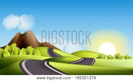 Vector landscape with hills road and sun