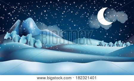 Parallax winter landscape cartoon seamless repeating background