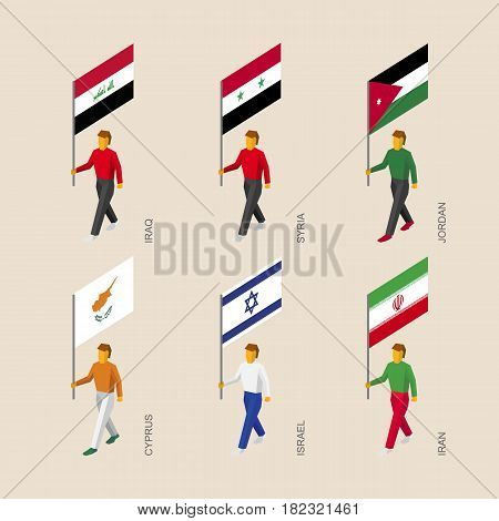 Set of isometric 3d people with flags. Standard bearers infographic - Iraq, Iran, Jordan, Syria, Cyprus, Israel.