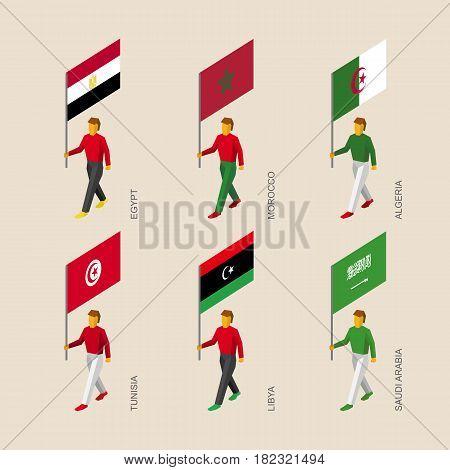 Set of isometric 3d people with flags. Standard bearers infographic - Egypt, Libya, Saudi Arabia, Tunisia, Morocco, Algeria