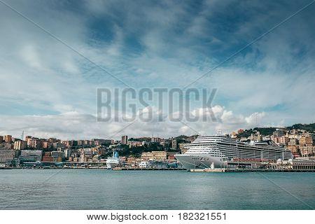 Cruise ocean liner docked in the Port of Genova, Italy