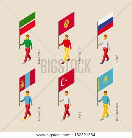 Set of isometric 3d people with flags. Standard bearers infographic - Russia, Kazakhstan, Kyrgyzstan, Turkey, Tatarstan, Mongolia.