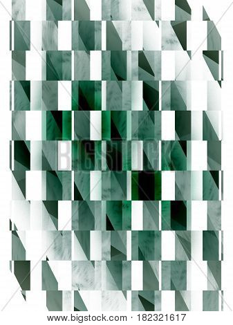 Abstract Geometric Texture. Fantasy Fractal Design In White, Black And Dark Green Colors. Digital Ar