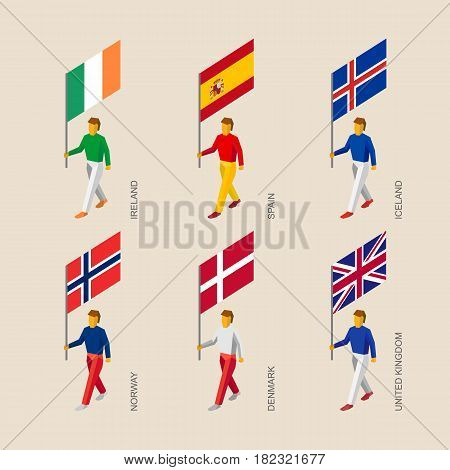 Set of isometric 3d people with flags. Standard bearers infographic - Denmark, United Kingdom (England), Spain, Norway, Ireland, Iceland.