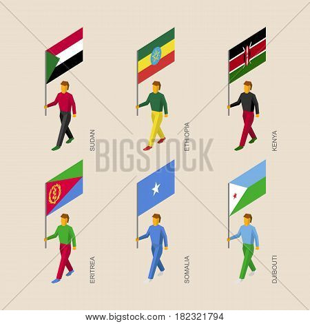Set of 3d isometric people with flags of African countries. Standard bearers infographic - Sudan, Ethiopia, Kenya, Eritrea, Somalia, Djibouti.