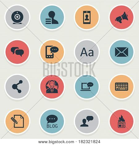 Vector Illustration Set Of Simple Blogging Icons. Elements Gossip, Profile, Keypad And Other Synonyms Pen, Blog And Keyboard.