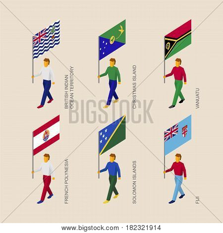 Set of isometric 3d people with flags of countries in Oceania. Standard bearers infographic - Vanuatu, Fiji, French Polynesia, Solomon Islands, Christmas Island, British Indian Ocean Territory.