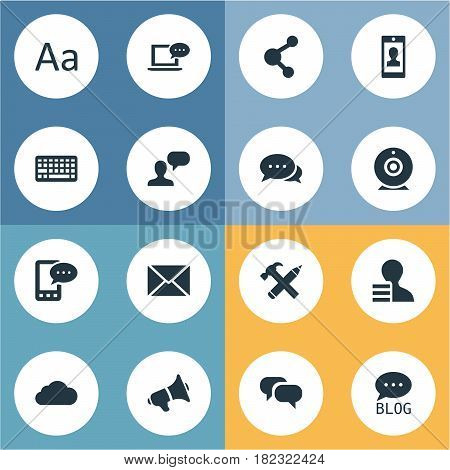 Vector Illustration Set Of Simple Blogging Icons. Elements Gossip, Broadcast, Argument And Other Synonyms Share, Discussion And Keyboard.