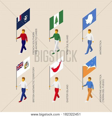 Set of isometric 3d people with flags of countries and territories. Standard bearers infographic - Easter Island, Norfolk Island, French Antarctic Lands, British Antarctic, Tierra del Fuego