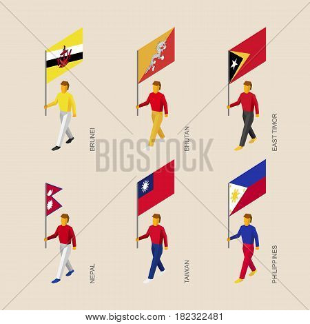 Set of isometric 3d people with flags. Standard bearers infographic - Butan, Brunei, East Timor, Nepal, Taiwan, Philippines