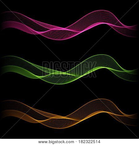 Set of Glowing Abstract Isolated Wave Lines for Black Background. Design Elements Shimmering Smooth Wavy Horizontal Bands.