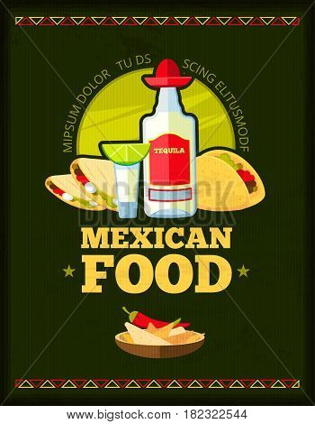 Mexican restaurant vector menu design. Banner with emblem mexican restaurant, illustration of menu mexican poster