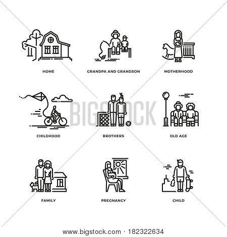 Family and parents, marriage and motherhood thin line vector icons set. Love and family illustration of family values