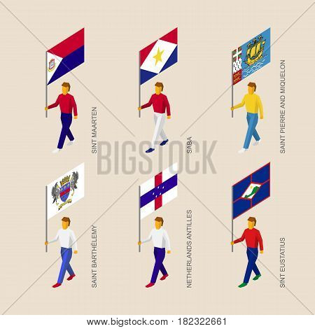 Set of isometric 3d people with flags of islands in Caribbean sea. Standard bearers infographic - Sint Maarten, Saba, Saint Pierre and Miquelon, Saint Barthelemy, Netherlands Antilles, Sint Eustatius
