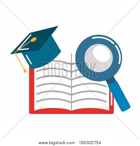 open notebook with graduation cap and magnifying, vector illustration