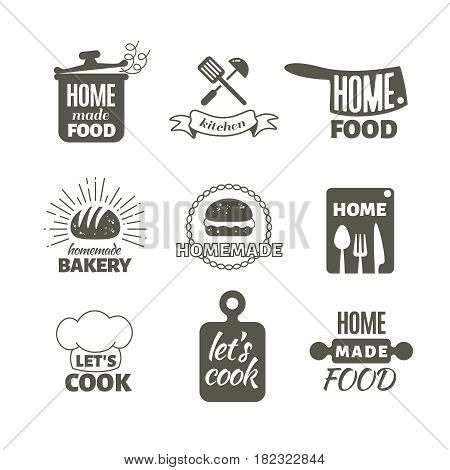 Retro kitchen cooking at home and handmade vector badges and logos. Home made cooking restaurant logo, illustration of label menu restaurant
