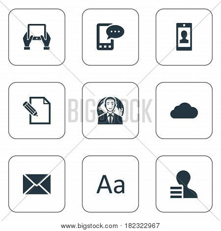 Vector Illustration Set Of Simple Blogging Icons. Elements Overcast, Gain, Document And Other Synonyms Globe, Post And Overcast.