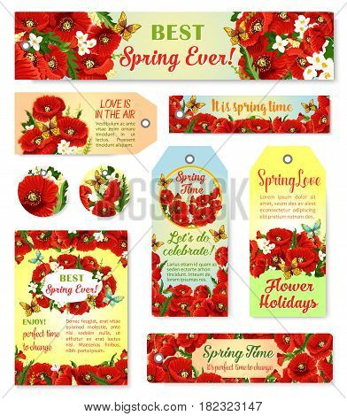 Spring time vector cards and tags set with flowers bouquets and greeting quotes. Floral springtime design of blooming poppy flowers bunches and jasmine blossoms in green spring field with butterflies