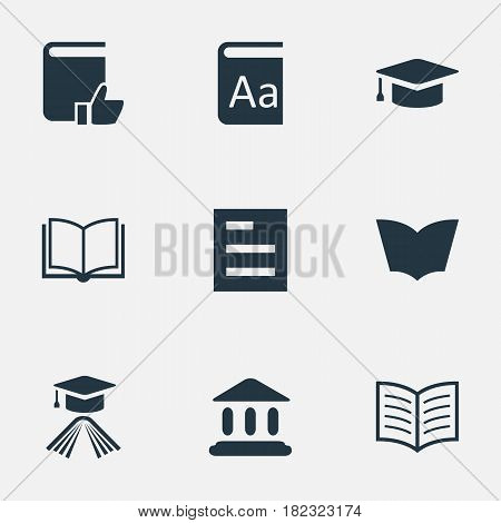 Vector Illustration Set Of Simple Books Icons. Elements Alphabet, Tasklist, Academic Cap And Other Synonyms Hat, Dictionary And Favored.