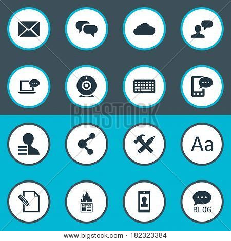 Vector Illustration Set Of Simple User Icons. Elements Laptop, Broadcast, Gain And Other Synonyms Profile, Laptop And Keyboard.