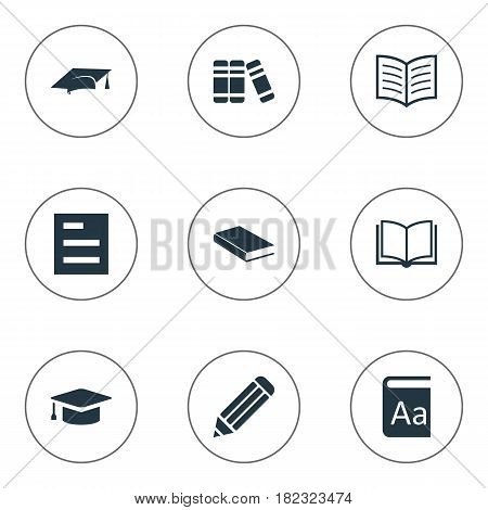 Vector Illustration Set Of Simple Books Icons. Elements Notebook, Alphabet, Pen And Other Synonyms List, Book And Hat.