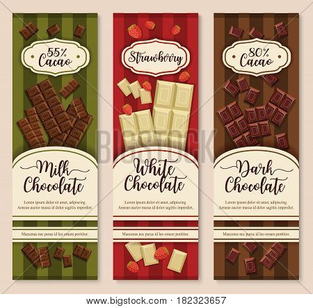 Chocolate packaging vector design set for black, white and dark chocolate bars with cacao percentage. Banners or chocolates bars and pieces with strawberry filling for cafe or confectionery