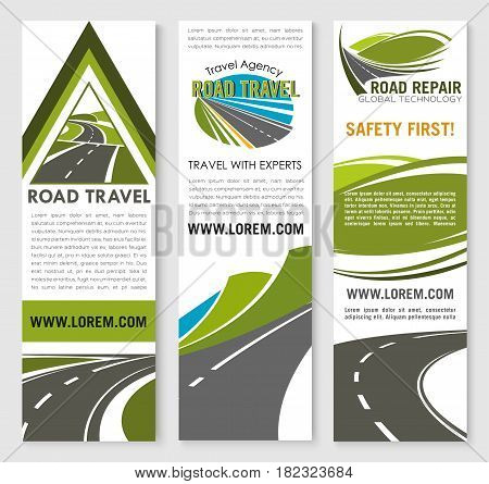 Road safety construction and repair service banners for travel ot ransportation company. Design of highway safe building with tunnels and bridges for motorway transport journey trip