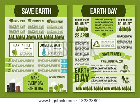 Save Planet and Earth Day poster template set. Recycle, tree planting and water saving eco concept with green tree, leaf and industrial plant icons for sustainable manufacturing and ecology design