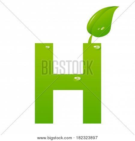Green eco letter H illiustration on white