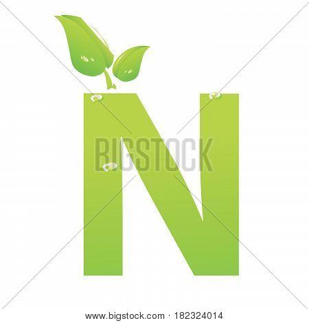 Green eco letter N vector illiustration on white